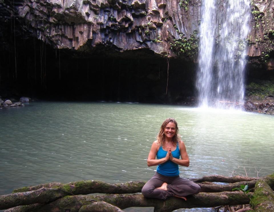 Hawaii Waterfall Namaste