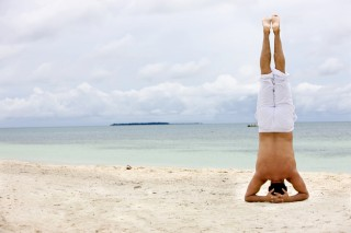 Hawaii Private Yoga Instruction Headstand on Beach